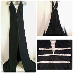 Night Way Black Formal Rhinestone Halter Gown